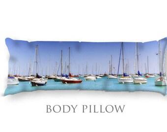 Boats Bed Pillow-Coastal Bed Decor-Nautical Pillow Cover-Blue Body Pillow-Fleece Pillow Cover-Bed Bolster-Microfiber Body Pillow-Chicago