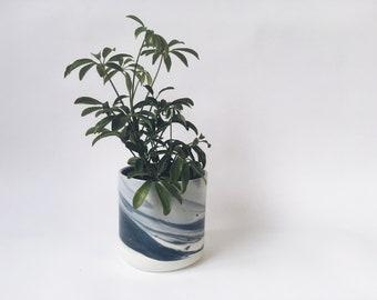 "PLANTER 4"" Blue Marbled. Ceramic flower pot/planter. Pottery everything vessel."