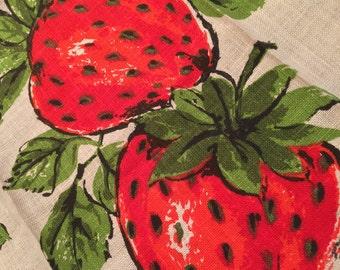 Vintage Parisian Prints Pure Linen Strawberry Kitchen Tea Towel