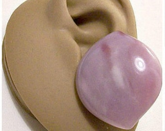 Monet Purple White Buttons Pierced Earrings Silver Tone Vintage Large Marbled Domed Discs