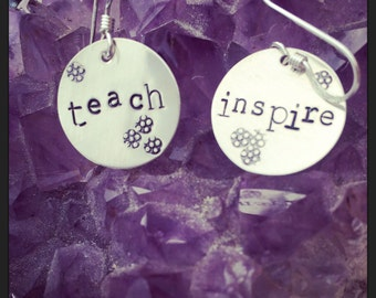 silver earrings round hand stamped engraved teach inspire celebrate teachers coach mentor