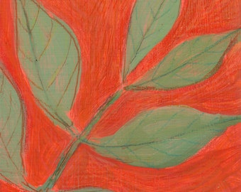 original small painting, original affordable art - Burning Bush Leaves on 3 inch wood block - Irene Stapleford, wantknot shop