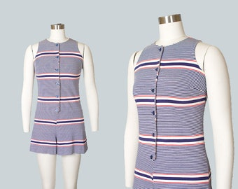 Vintage 1960s Romper | 60s Striped Knit Playsuit Pin Up Summer Onesie (small/medium)