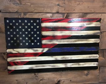 Tattered Split American U0026 Thin Blue Line   American Flag   Military Veteran  Made  Torched Wood Flag   Wall Decor  Patriotic   Handmade  Sign