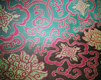 Double Dorje Altar Cloth,Green Tibetan Brocade,Shrine Cloth