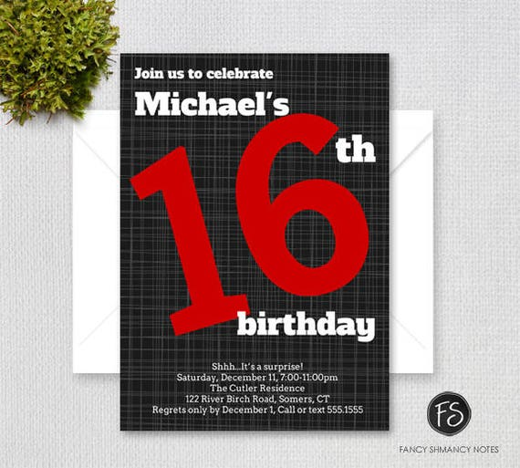 Teen Boy 16th Birthday Invitation Bold Number Black And Red