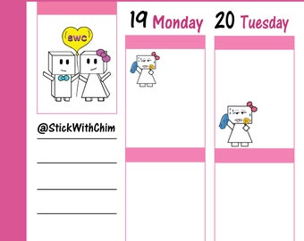 Bow Robot Girl Hot Sweating   Cute Planner Stickers   Perfect for planners and calendars   R2026