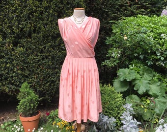 """Vintage hand made 80's peach pink silk, """"Pretty In Pink"""" dress for all occasions. Size medium."""