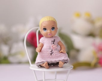 Mini doll crochet pink dress Dollhouse clothing Dollhouse clothes Miniature doll clothes Mattel baby doll dress Mini dolls Baby doll dress