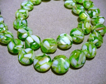 Mother of Pearl & Resin  Beads Green Puffed Coin 12MM