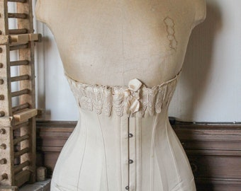 Antique French wasp waist Stockman mannequin bust with authentic Edwardian corset, from circa 1900