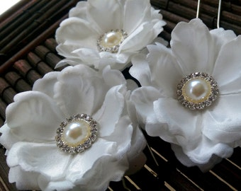 Ivory Satin Bridal Hair Flower Pins - Set of 3, Ivory Off-White Wedding Hair Flower Pins, Bridal Hair Flowers