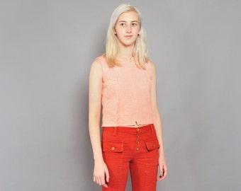 Vintage 60's Crop Top // Mod Handmade Orange Striped Top // Button-back // S