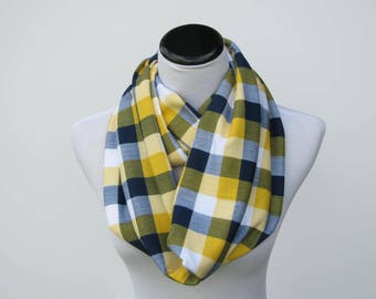 Autumn colors plaid scarf infinity scarf mustard gray plaid scarf jersey knit scarf for mom toddler infant matching scarf for mom & child
