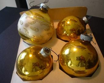 Vintage Christmas - A Quartet of Glass Ornaments - 1960s decor - Gold - Handpainted Retro Christmas - Shiny Brite