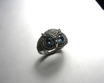 Blue Topaz Owl Ring In Sterling Silver