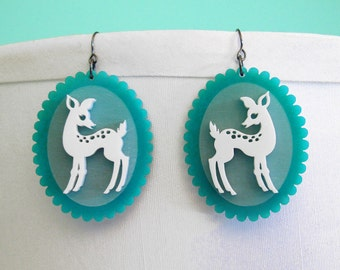 Doe-Eyed Deer Earrings - Acrylic Laser Cut Earrings (C.A.B. Fayre Original Design)