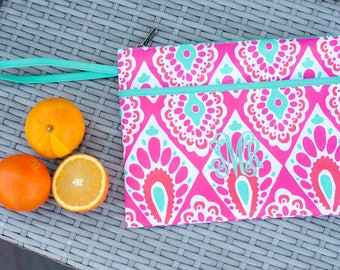 Beachy Keen Monogrammed Zip Pouch, Monogram Cosmetic Bag, Personalized Wet Bag, Makeup Bag, Accessory Bag, Bridesmaid Gift, Wedding Gift
