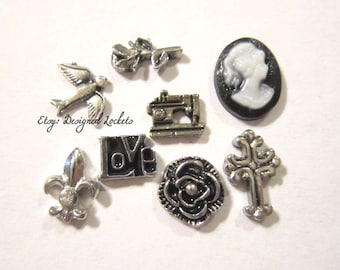Assorted Vintage Antique Style Floating Charms for Memory Lockets fits Origami - Choose One -