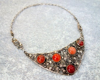 ANTIQUE HANDCRAFTED Silver GEM Necklace