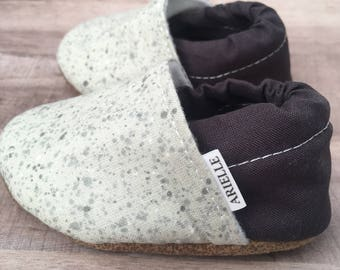 Gray baby moccasins, toddler moccasins, baby moccs, baby shoes