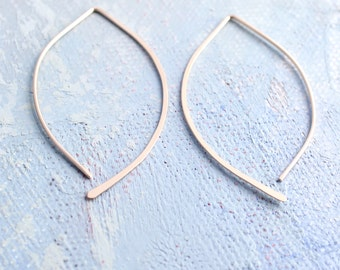 Minimalist Earrings - gold open hoop earrings in almond shape (Medium) - gold earrings, threader earrings, minimalist jewelry,