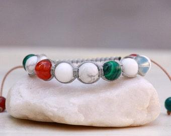 Shamballa Bracelet, Malachite Howlite Agate Opalite Energy Power bracelet, Natural stones bracelet, Gemstones bracelet, Gift for women