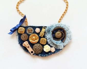 Button necklace, Denim necklace, Textile necklace, Button jewelry, Textile jewelry, Gift for her, Ready to ship
