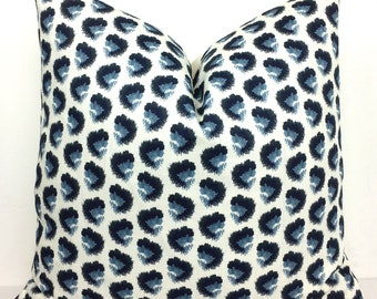 Dark Navy, Sky Blue Animal Print Pillow Cover -  Choose 1 SIDED OR 2 SIDED - Designer - Panther - Leopard - Pindler