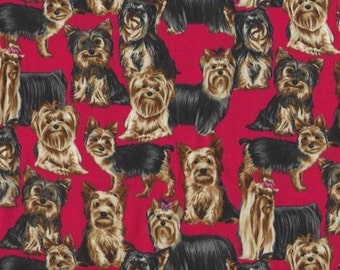 Yorkshire Terrier Dog Dogs on Red Cotton Quilt Fabric Timeless Treasures 3574.