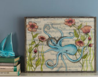 Original Mixed Media Encaustic Painting - Octopus's Garden