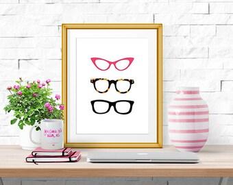 "Glasses -- Illustrated Print -- 8 X 10"""
