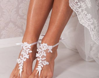 White lace barefoot sandals, Bridal shoes, Wedding shoes, Bridal footless sandals, Beach wedding lace sandals, Foot thongs, Bridesmaid gift