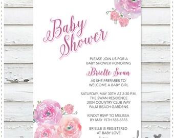 Blush Bouquet Baby Shower Invitation