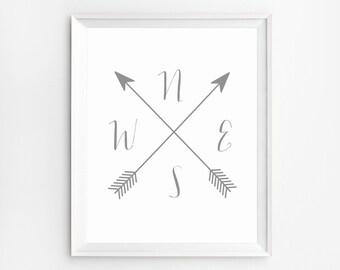 Compass printable, Compass Print, Cardinal Directions Art, Wall Art Prints, Arrow Compass, NWES Prints, Arrow artwork, Compass Wall Art