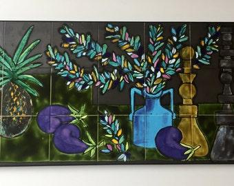 Mural wall-painting * 1960 * Belgium * Juliette Belarti * tile image * * vintage mid-century modern *.