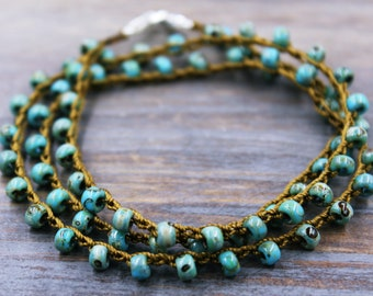 Beaded Bracelet, Stackable Bracelet for Women, Layered Bracelet, Turquoise Bracelet, Boho Bracelet, Boho Jewelry, Stacked Bracelet Set