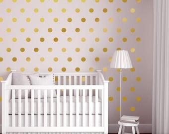 Wall Dots Nursery Decor, Gold Dot Wall Decals, Gold Vinyl Wall Dots, 2.5