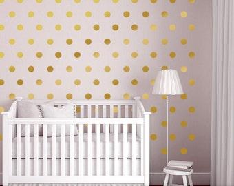 Elegant Wall Dots Nursery Decor, Gold Dot Wall Decals, Gold Vinyl Wall Dots, 2.5