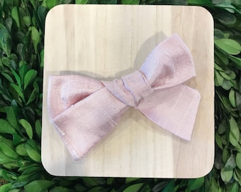 Pink hairbow // Pink silk hairbow // baby girl headband // newborn hairbow // special occasion bow