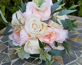Apricot Peony and Cream Rose Bridal Bouquet with Dusty Miller & Eucalyptus  - Artificial Wedding Flowers