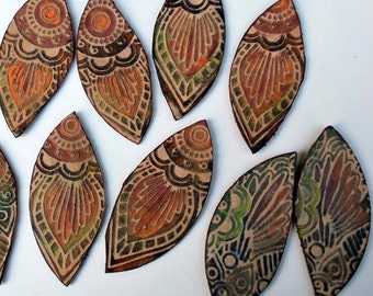 "Boho Leather Leaves - Matching set of 2 in Olive, Burgundy, Orange  ~2"" or 2.5"""