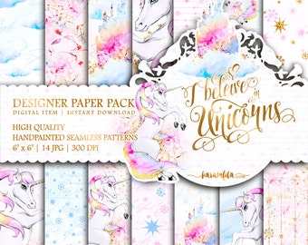 Cute Unicorns Paper Pack Kids Party Digital Background Watercolor Hydrangea Illustrations Fairy Tale Patterns Printable Planner Stickers DIY