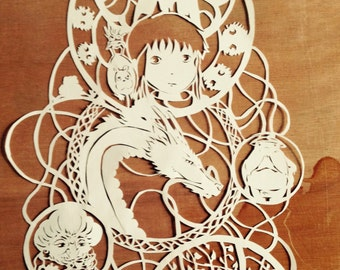 paper cut Spirited Away - Studio Ghibli Themed art