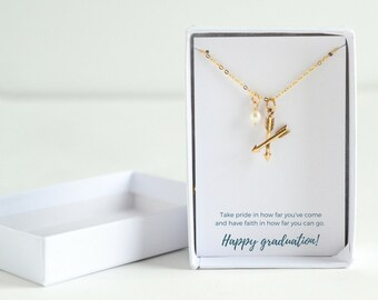 Arrow Gold Necklace - Personalized Graduation Jewelry - 2018 Graduation Necklace - Grad Gifts for Friends - College Graduation Gift for Her