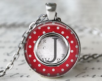 Gift For Her • Typewriter Key Necklace • Custom Letter Necklace • Initial Jewelry • Typewriter Jewelry • Personalized Gift • Red Necklace