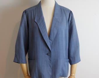 Blue Blazer / Vintage Blazer 3/4 Sleeves / S / M / L
