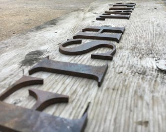 """7"""", 8"""", 9"""", Any Size - Any Font Rustic Metal Letters and Numbers - Personalize - Any Font"""