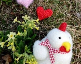 Felted Chicken with 2 crocheted hearts, felted chicken with hearts