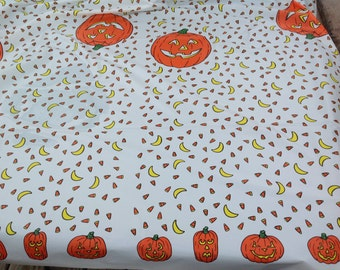 Pumpkin Candy Corn Party Time table cover tablecloth plastic 54 x 108 (2 pieces)